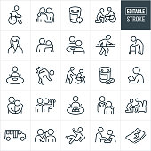 A set of nursing home icons that include editable strokes or outlines using the EPS vector file. The icons include a person in a wheel chair, medications, person visiting the elderly, nurse, person with arm around the shoulder of a patient, two people eating together in a nursing home, person doing rehabilitation, old person using a walker, person hurting their back, person with an illness or injury, person pushing an elderly person in a wheelchair, medical checkup, sad person, person lifting weights for rehabilitation, patient playing a board game, a doctor, person falling, person getting their blood pressure checked and a sick person in bed to name a few.