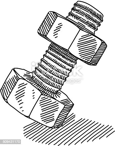 Nut And Bolt Drawing Stock Vector Art & More Images of