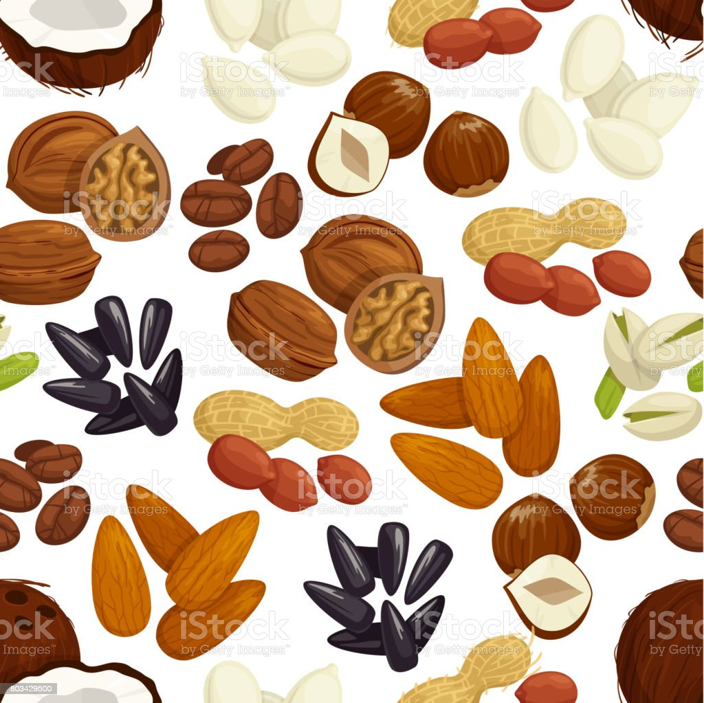 Nut, bean, seed, grain seamless pattern background vector art illustration