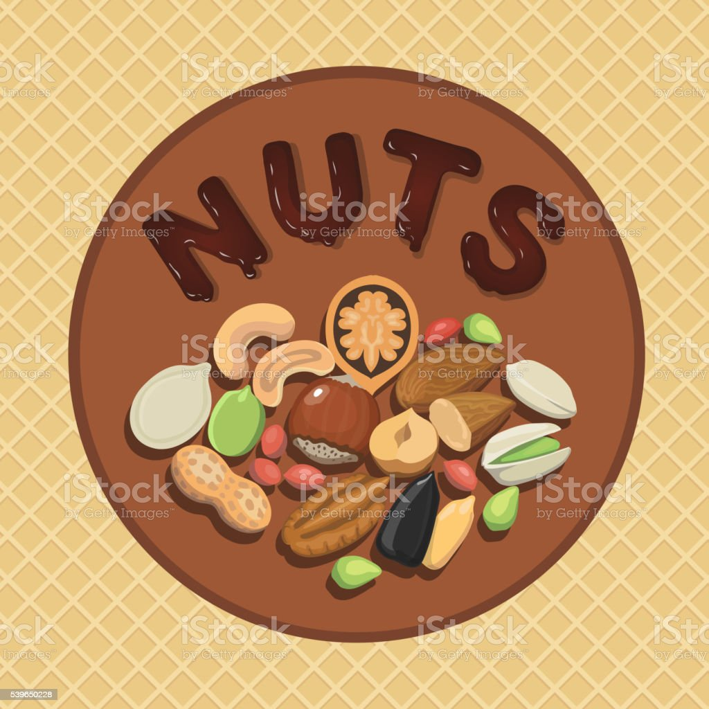 Nut collection with raw food mix and Round label illustration vector art illustration