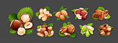 Set of nut compositions, different statements. Good for labels and stickers, packaging design. Vector illustration in cartoon style, groups of objects, isolated on dark