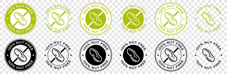 Nut free food vector icon. Food package seal, 100 percent nut free ingredients, peanut allergy information label. Vector illustration.