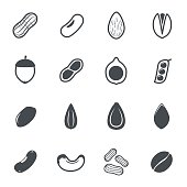 Nut icons. Vector illustration.