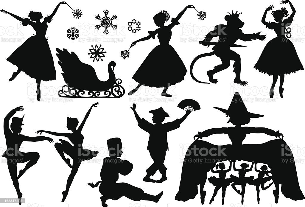 Nutcracker Ballet Silhouettes vector art illustration