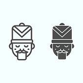 Nutcracker line and solid icon. Fairy tale face with hat. Christmas vector design concept, outline style pictogram on white background, use for web and app. Eps 10