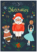 Nutcracker poster with a nutcracker, ballerina, mouse, and decorative elements. Vector graphics.