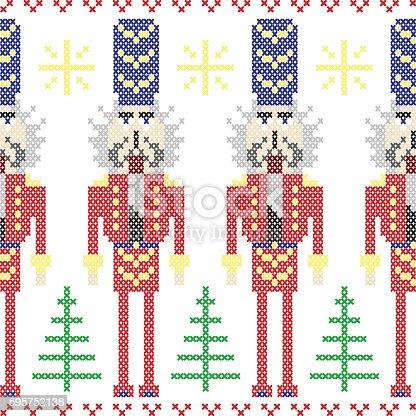 Nutcracker Soldiers Seamless Christmas Nordic Pattern In Cross Stitc ...