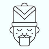 Nutcracker thin line icon. Fairy tale face with hat. Christmas vector design concept, outline style pictogram on white background, use for web and app. Eps 10
