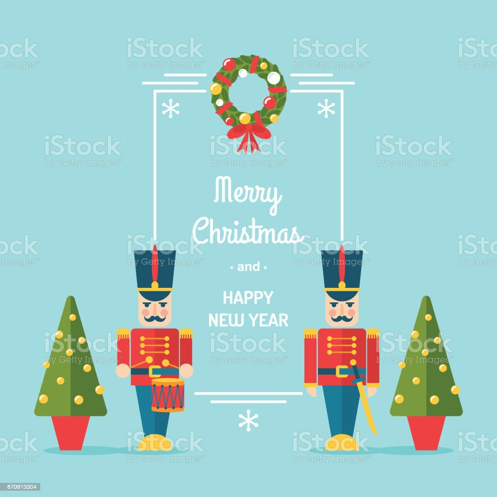 Nutcracker toy soldiers Christmas and winter holidays vector greetings card/ illustration vector art illustration