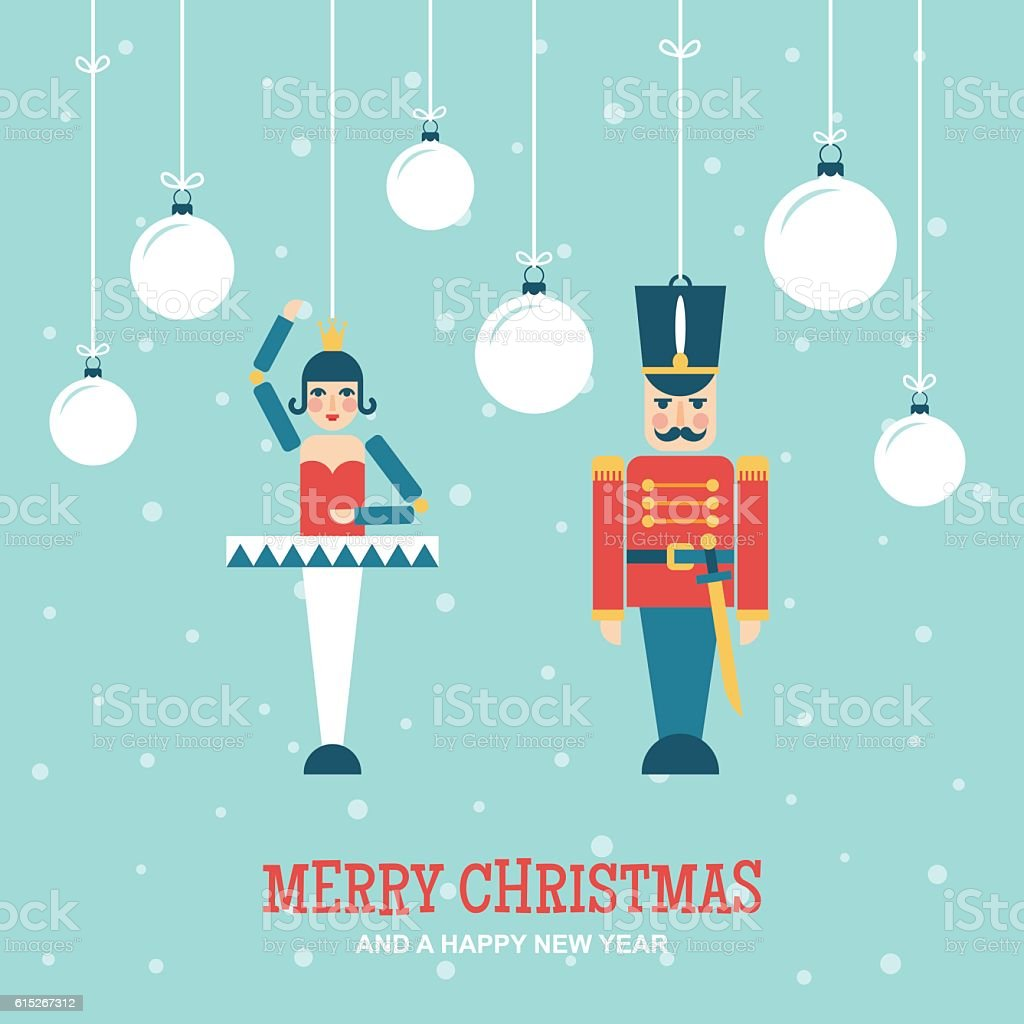 Nutcracker Toys Christmas Ornaments Flat Vector