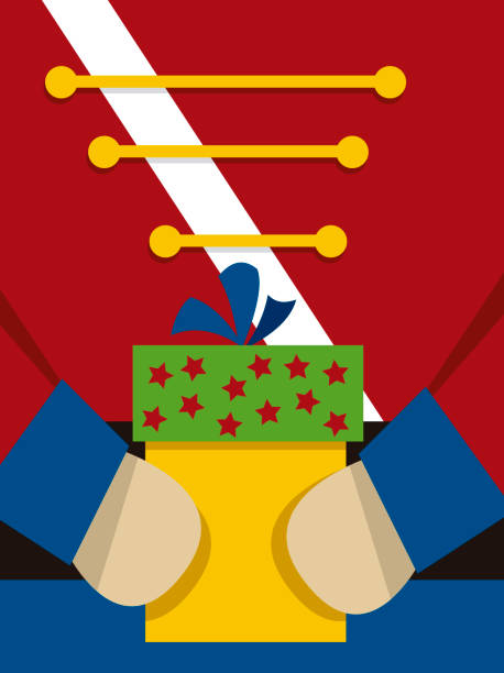 Nutcracker with a present vector art illustration