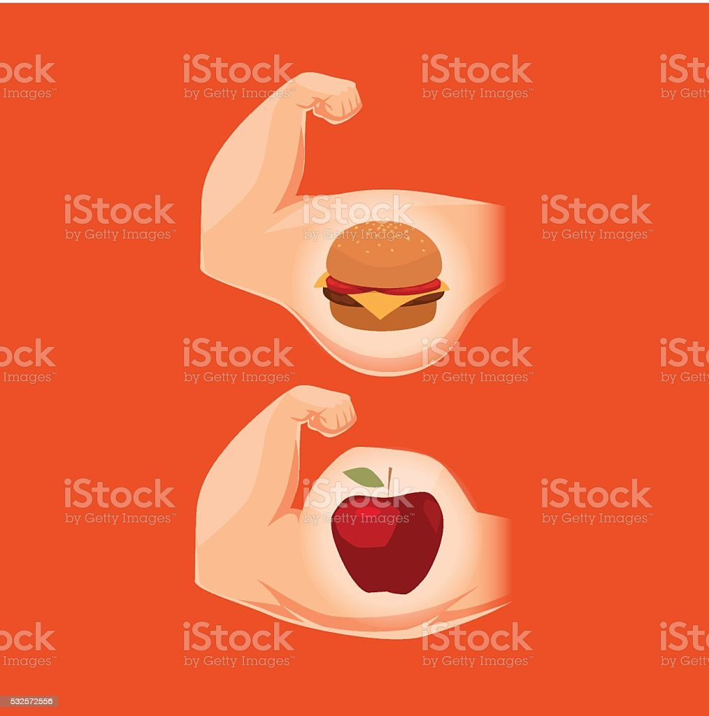 Nutrition and a body. Concept vector illustration. vector art illustration