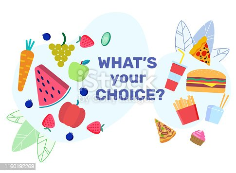 Nutrition Choices Flat Banner Vector Template. Natural Products Versus Unhealthy Snacks Poster. Fresh Fruits and Berries, Delicious Harmful Meal. Vegetables and Fast Food Illustration with Typography
