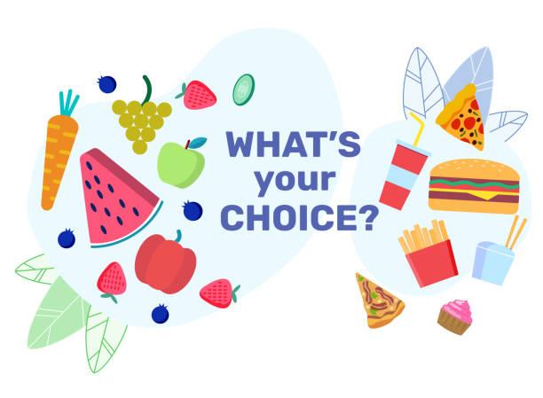 ernährung entscheidungen flache banner vektor vorlage - ungesunde ernährung stock-grafiken, -clipart, -cartoons und -symbole