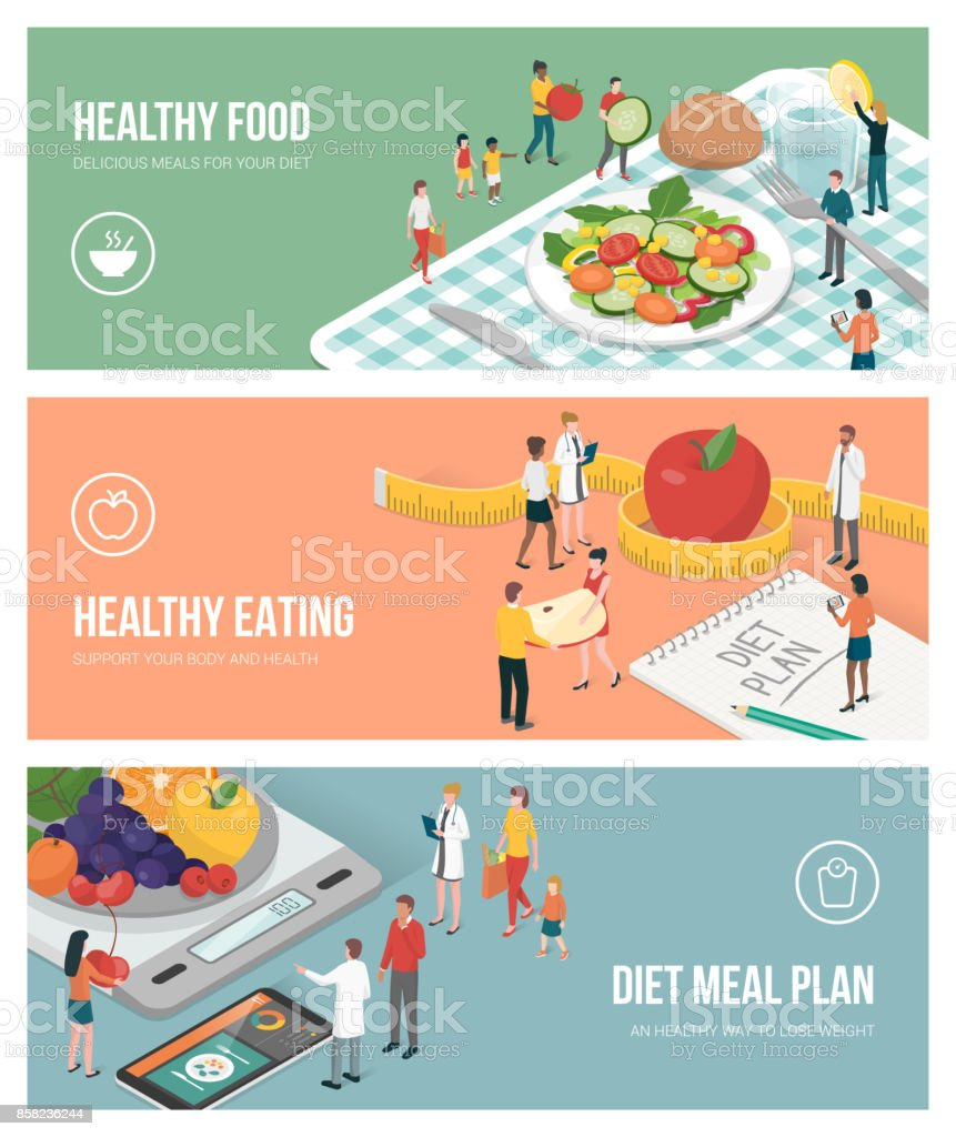 Nutrition, diet and healthy lifestyle vector art illustration