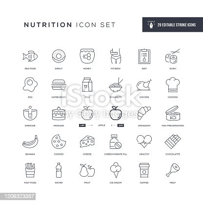 29 Nutrition Icons - Editable Stroke - Easy to edit and customize - You can easily customize the stroke with