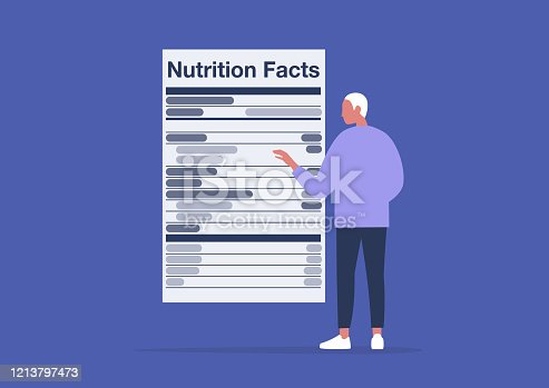 istock Nutrition facts, added sugar, healthy lifestyle, balance of ingredients in daily ration, young male character reading a product label 1213797473