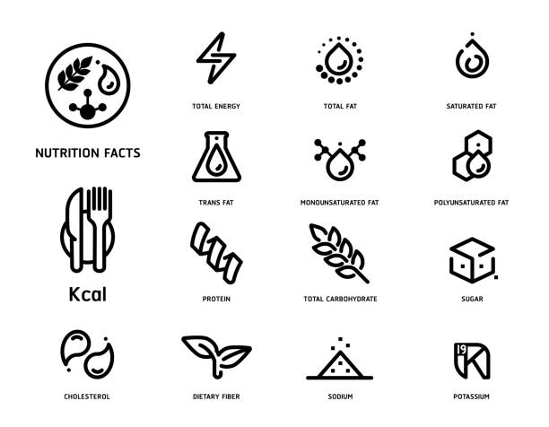 Nutrition facts icon concept clean minimal style set version 2. Nutrition facts icon concept clean minimal style set version 2. Flat line symbols of nutrients are common in food products collection. cholesterol stock illustrations