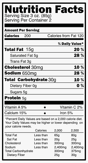 Nutrition facts label isolated on white