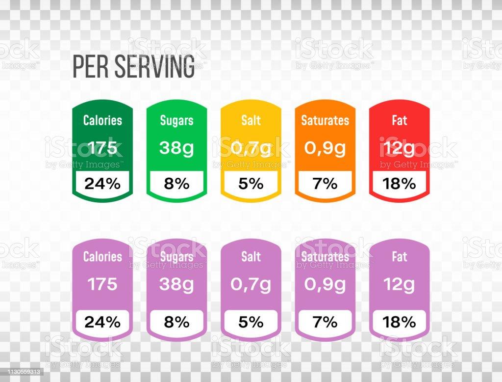 Nutrition facts label set. Information label in flat design on...