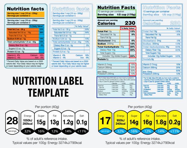 nährwerte etikett vorlage. - portion stock-grafiken, -clipart, -cartoons und -symbole