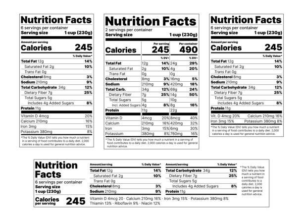 영양 성분 라벨. 벡터 그림입니다. 테이블 음식 정보의 집합입니다. - 재료 stock illustrations