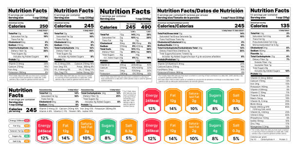 Nutrition facts Label. Vector illustration. Set of tables food information. Nutrition facts Label. Vector. Food information with daily value. Data table ingredients calorie, fat, sugar. Package template. Flat illustration isolated on white background. Layout design nutritional supplement stock illustrations