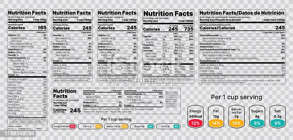istock Nutrition facts Label. Vector illustration. Set of tables food information. 1188349294