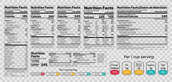 Nutrition facts Label. Vector illustration. Set of tables food information.