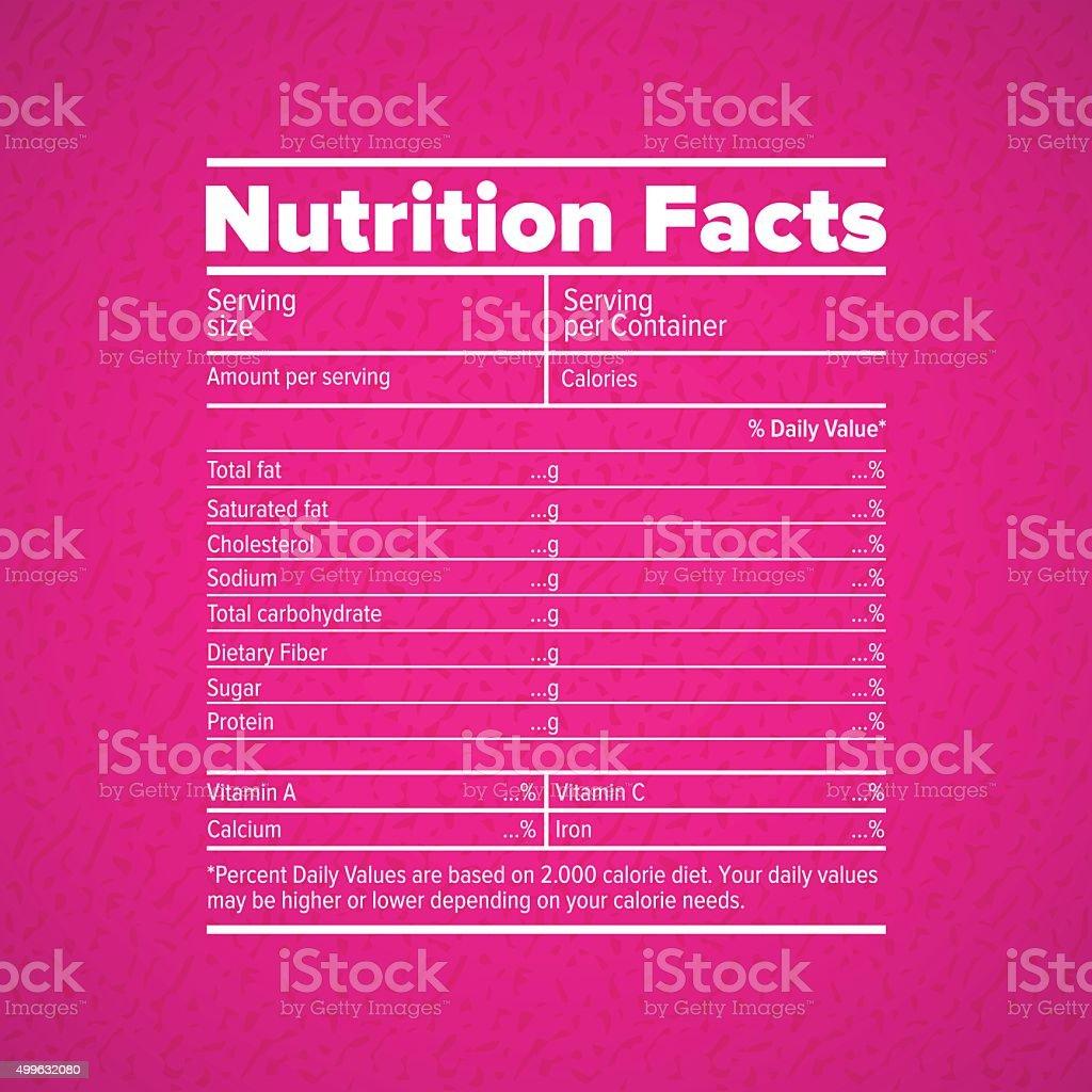 Nutrition facts lettering vector art illustration