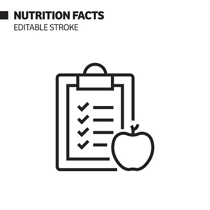 Nutrition Facts Line Icon, Outline Vector Symbol Illustration. Pixel Perfect, Editable Stroke.