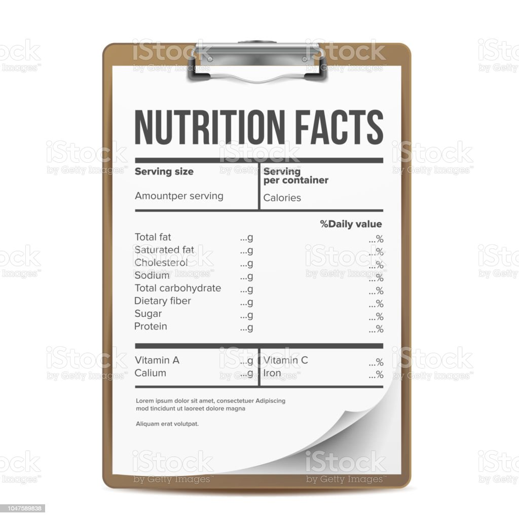 Nutrition Facts Vector Blank Template Serving Healthy Fitness