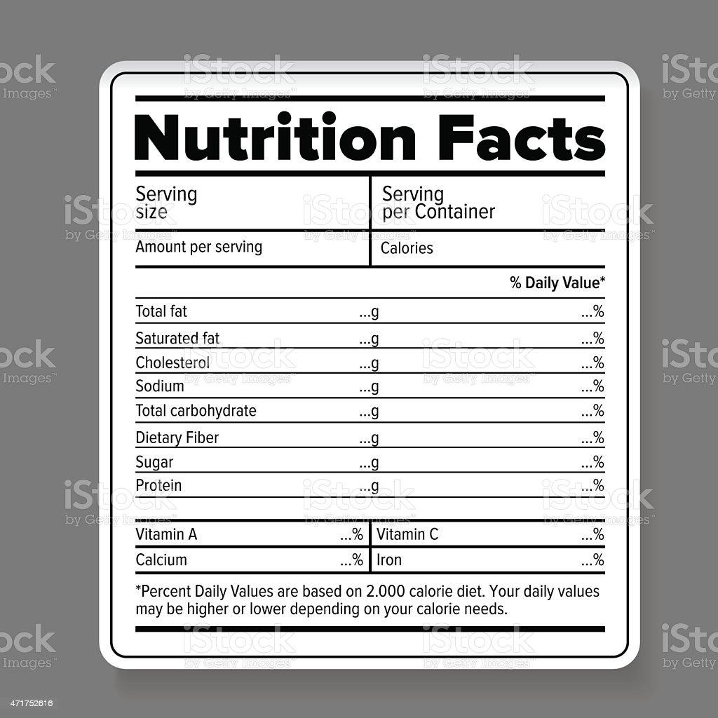 Nutrition facts vector art illustration