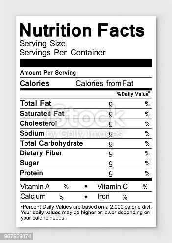 Nutrition facts. Vector illustration