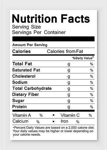 Nutrition facts. Vector illustration