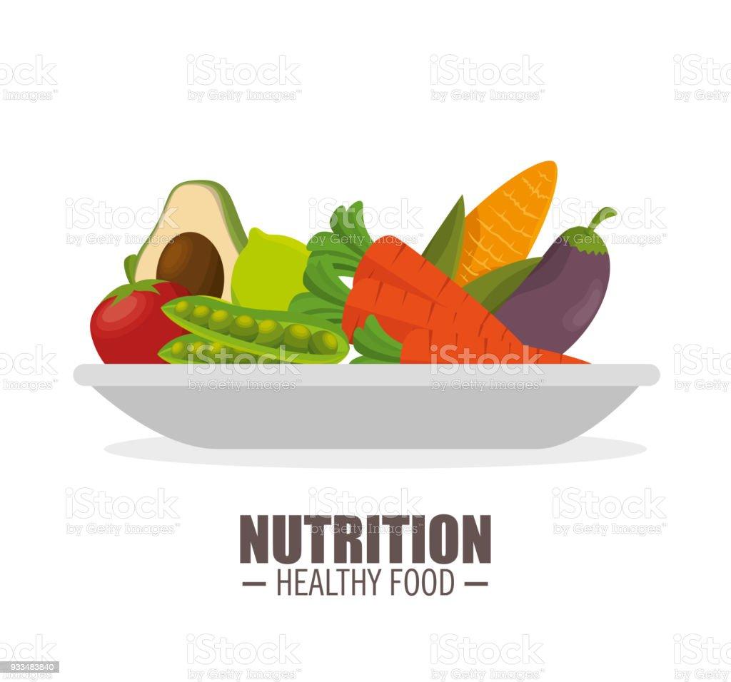 nutrición saludable alimentos jflatcy y verduras sabrosas sobre la placa - ilustración de arte vectorial