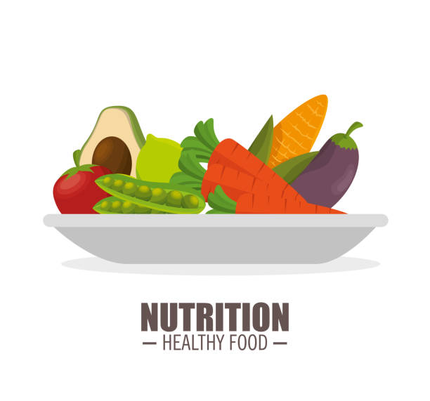 ilustraciones, imágenes clip art, dibujos animados e iconos de stock de nutrición saludable alimentos jflatcy y verduras sabrosas sobre la placa - comida cruda
