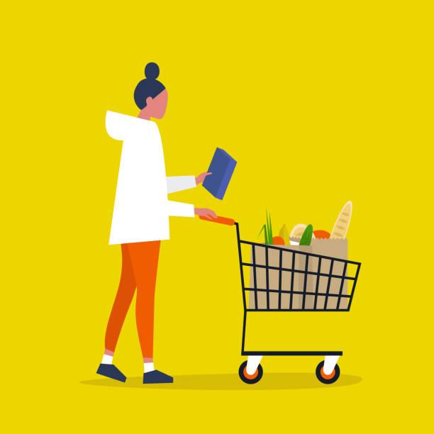 영양 정보. 글루텐 프리. 설탕을 첨가하지 않았습니다. 유기. 건강한 음식. 시리얼이나 파스타 상자를 들고 있는 젊은 여성 캐릭터. 플랫 편집 가능한 벡터 일러스트레이션, 클립 아트 - 시장 소매점 stock illustrations