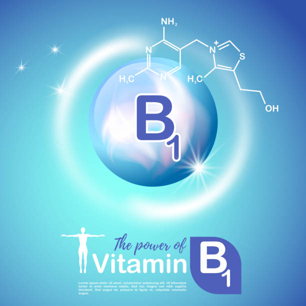 nutrition sign concept. the power of vitamin b1. сhemical formula - formula 1 stock illustrations