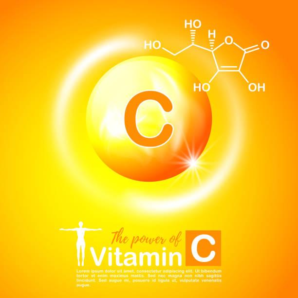 stockillustraties, clipart, cartoons en iconen met nutrition sign concept. the power of vitamin c. chemical formula - vitamine c