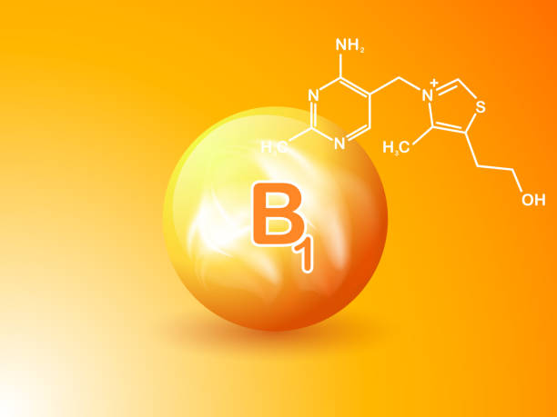 nutrition sign vector concept. the power of vitamin b1. chemical formula - formula 1 stock illustrations