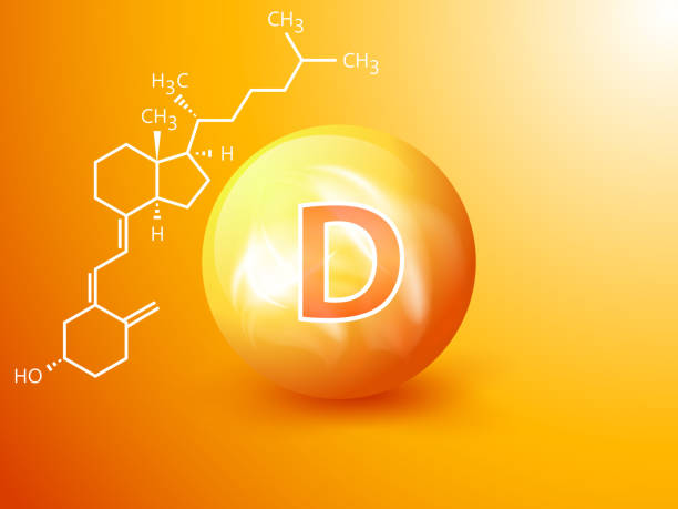 nutrition sign vector concept. the power of vitamin d. chemical formula - vitamin d stock illustrations