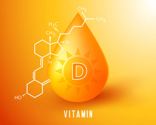 nutrition sign vector concept. the power of vitamin d golden drop. chemical formula - vitamin d stock illustrations