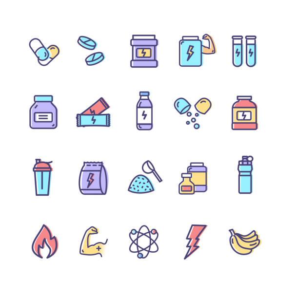 ernährung-zeichen farbe dünne linie symbolsatz. vektor - stoffwechsel stock-grafiken, -clipart, -cartoons und -symbole
