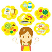Nutritional balance thinking woman, vector file