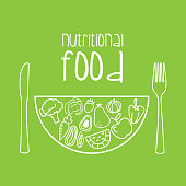 nutritional food over green background vector illustration