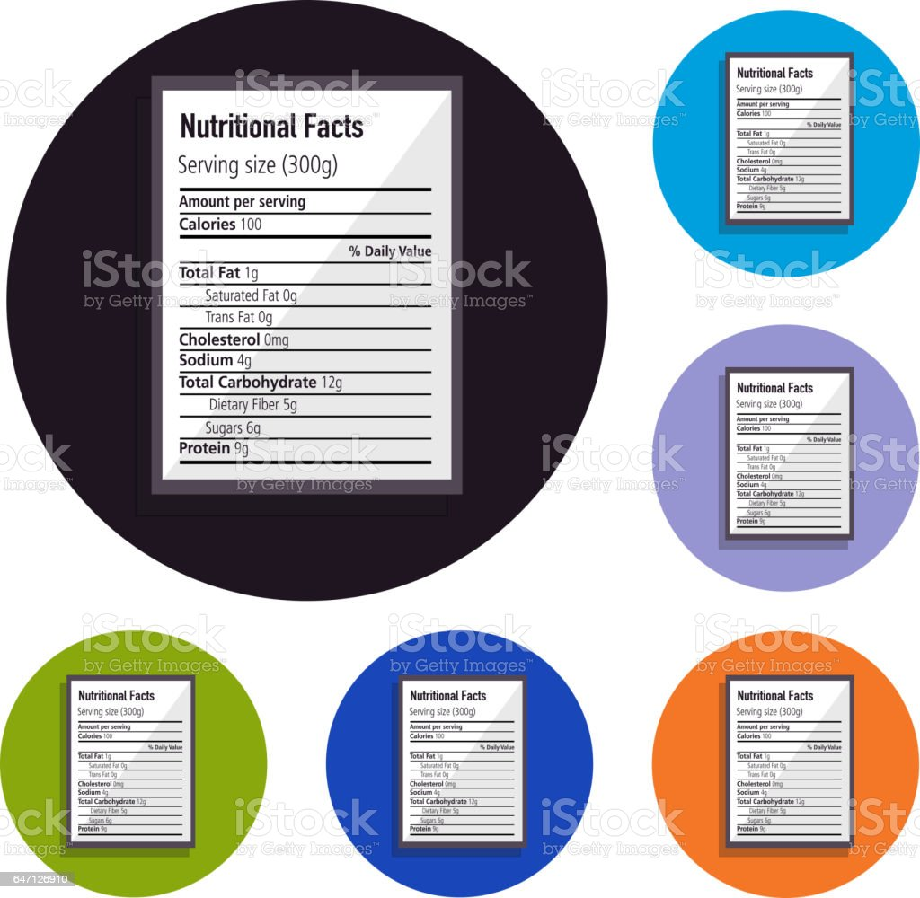 Nutritional label set of icons vector art illustration
