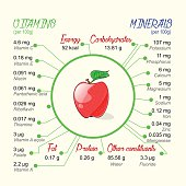 Nutritional value of apple. Vector infographic elements.
