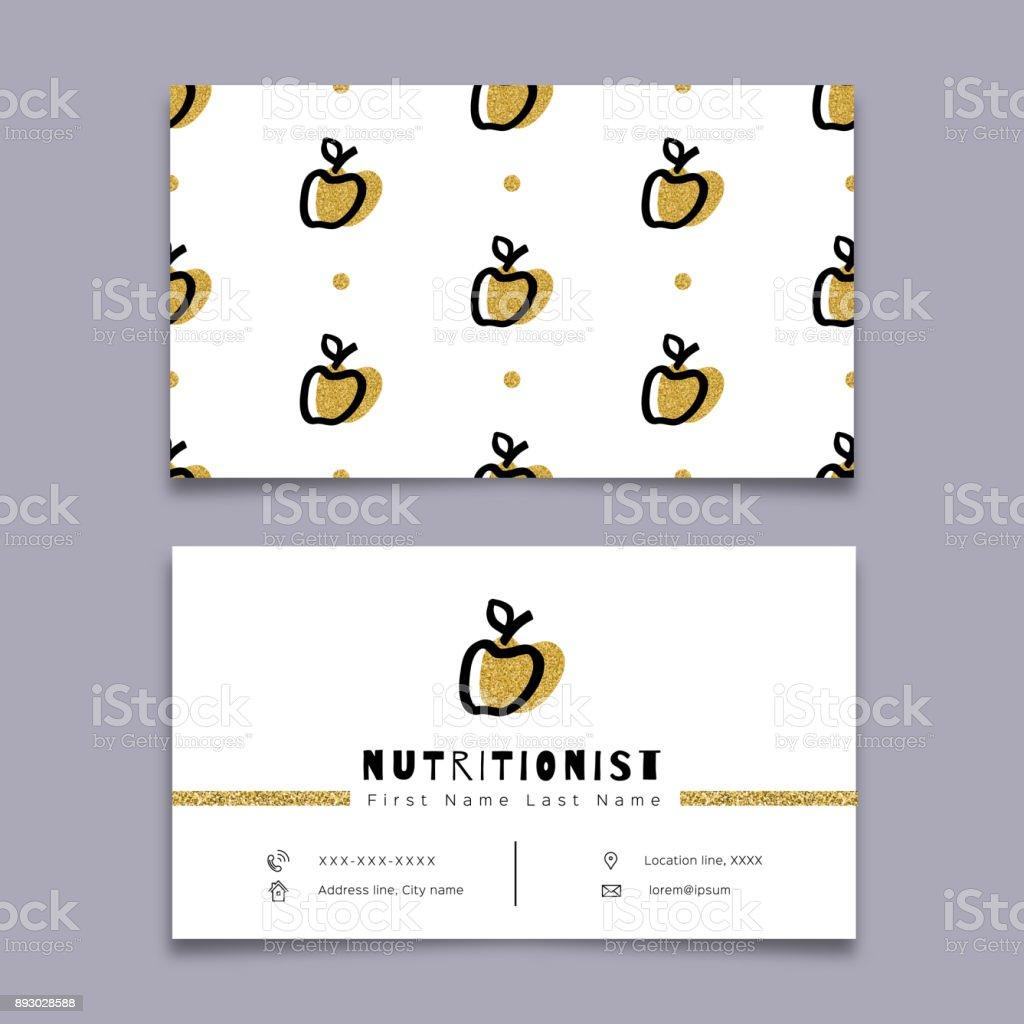 Carte De Visite Nutritionniste Dieteticienne Design Minimaliste Moderne Hipster Dessin A La