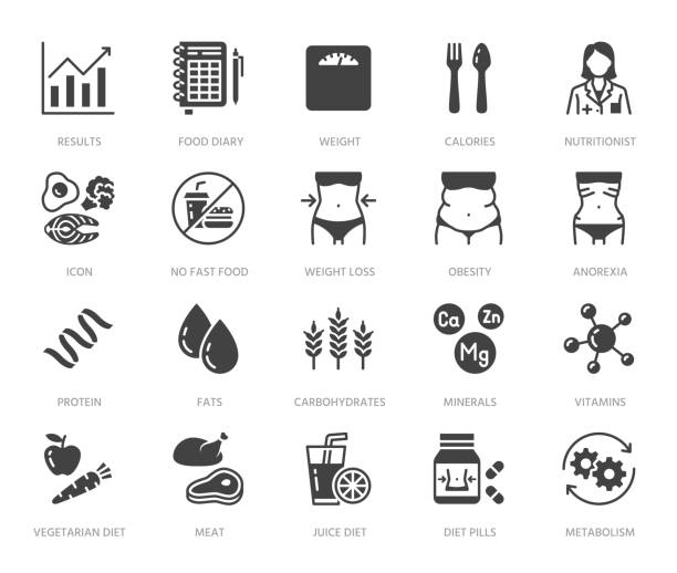 Nutritionist flat glyph icons set. Diet food, nutritions - protein, fat, carbohydrate, fit body vector illustrations. Black signs for overweight treatment. Silhouette pictogram pixel perfect 64x64 Nutritionist flat glyph icons set. Diet food, nutritions - protein, fat, carbohydrate, fit body vector illustrations. Black signs for overweight treatment. Silhouette pictogram pixel perfect 64x64. biological process stock illustrations